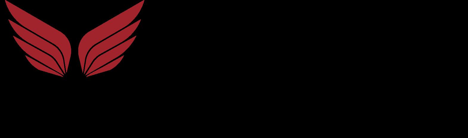 wings group Logo mit roten Flügeln über dem i