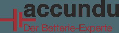 """accundu Logo mit rotem Stromquelle-Symbol und Claim """"Der Batterie-Experte"""""""